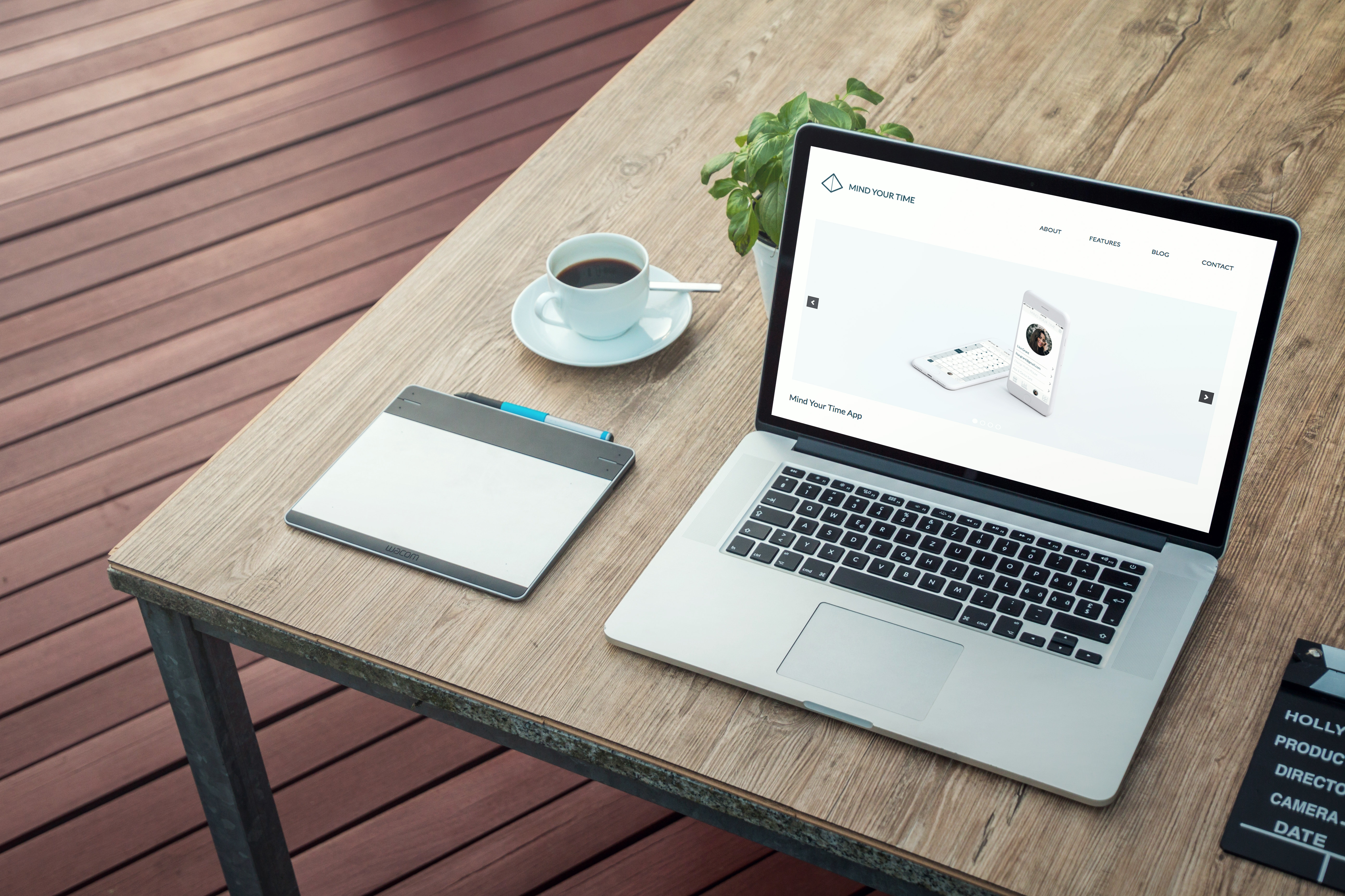 Device mockup of Mind Your Time app site's home page