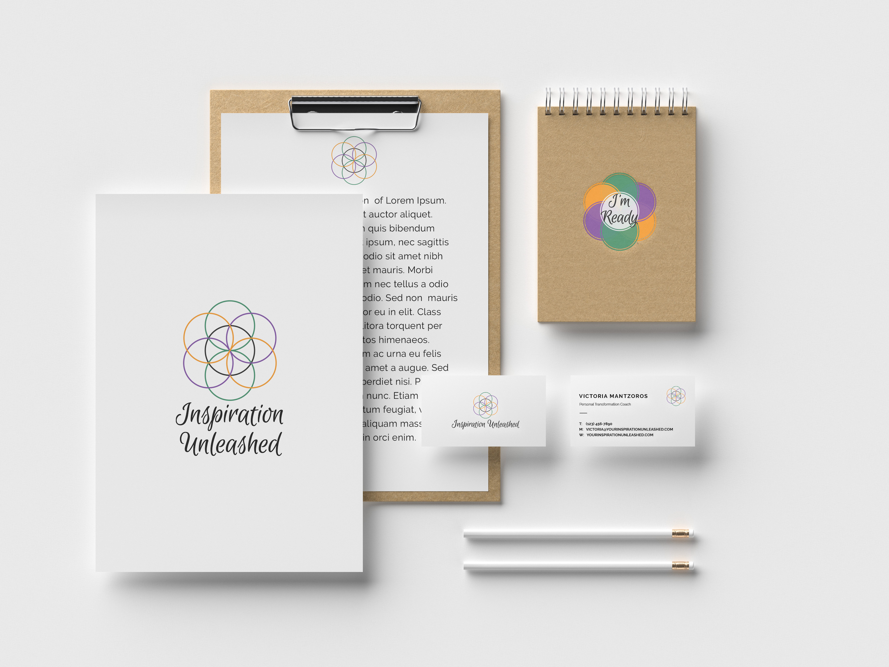 Stationery mockup of Inspiration Unleashed Coaching logo